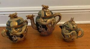 Antique-Japanese-Dragon-Tea-set-with-Raised-Relief