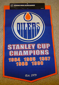 Edmonton Oilers Banner Dynasty Championships 24 X 36