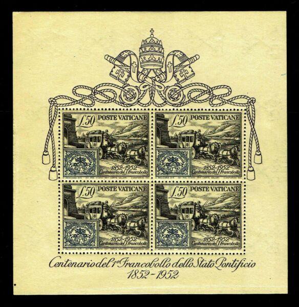 1952 Vatican City #155a Papal Centennial Souvenir Sheet-ognh-cv$140 (e#044) Pour Assurer Des AnnéEs De Service Sans ProblèMe
