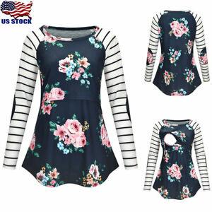 Maternity-Women-Floral-Striped-Long-Sleeve-Nursing-Tops-T-Shirt-Blouse-Pregnant