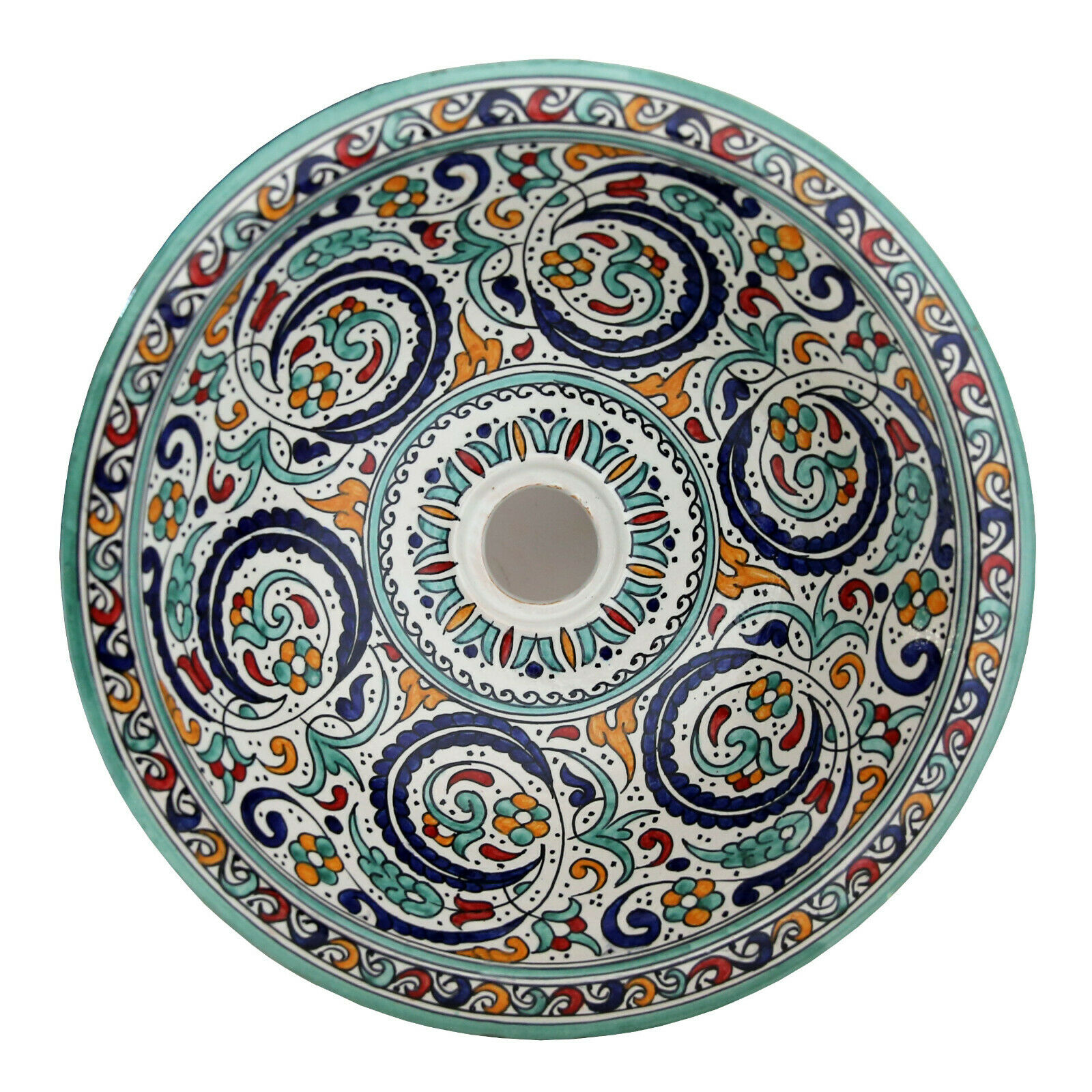 Marokkanisches Platillos Pintado a Mano rojoondo Lavabo Cerámica D41cm Fes-Xi