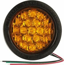 """New Federal Signal 4"""" Round Amber Warning Light 4"""" LED 4X 607123-02"""