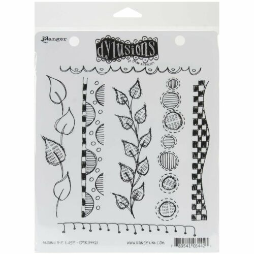 Dylusions Stamps Rubber Around the Edge Cling Stamps,
