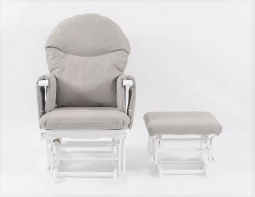 Habebe Recliner Rocking Grey Glider Chair /& Stool WASHABLE COVERS /& BRAKE SYSTEM