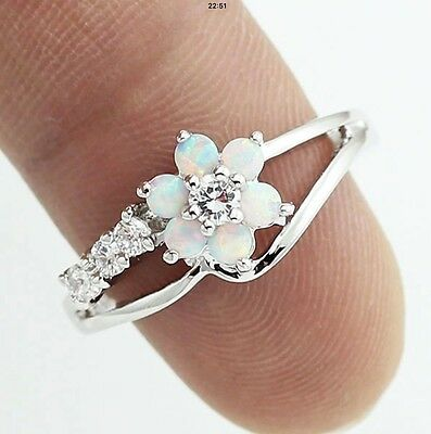 Delicate Silver Plated White Fire Opal & Simulated Diamond Flower Ring Size 7