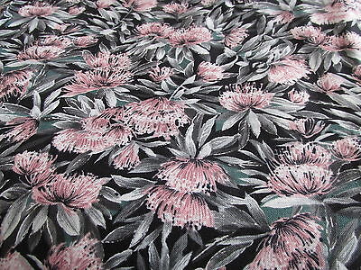 Tony Wenzel black floral cotton fabric  half yard cut 1//2 pink