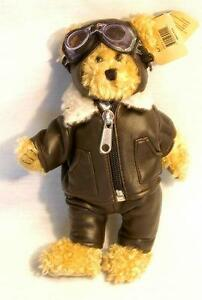 "8"" Vintage Pilot Teddy Freda Bear - Brown - Aviation Theme Plush Doll"