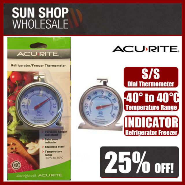 100% Genuine! ACURITE Stainless Steel Refrigerator Freezer Dial Thermometer!