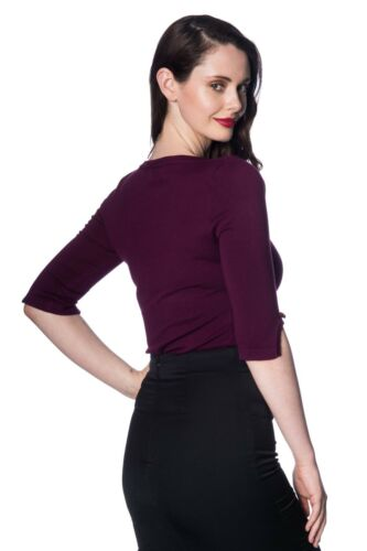 Aubergine Vintage 50 Rockabilly Blouse Retro Addicted Sweater Top Banned Apparel