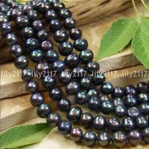 Genuine-Natural-7-8MM-Black-Akoya-Freshwater-Pearl-Loose-Beads-15-034-Strand