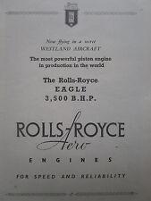 4/1947 PUB ROLLS-ROYCE AERO ENGINES EAGLE WESTLAND AIRCRAFT ORIGINAL AD