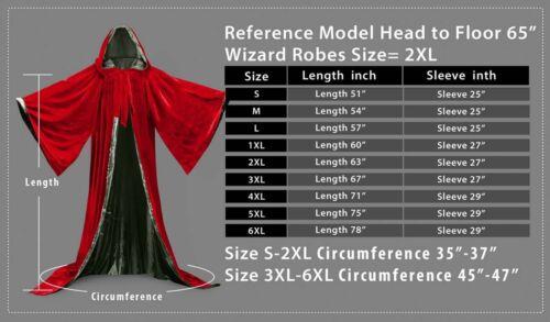 Velvet Robe Hooded Wizard Medieval Renaissance Halloween Cloak Line With Sleeves
