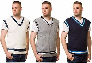 mens-cricket-jumper-V-Neck-Sleeveless-Casual-Wear-Cable-Knitted-tank-top-S-to-XL