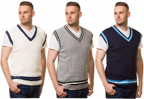 mens cricket jumper V Neck Sleeveless Casual Wear Cable Knitted tank top S to XL