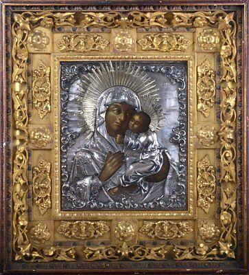 Alte Original Ikone Gottesmutter mit Kind 84 Silber Oklad Gold Kiot