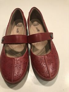 Clarks-Collection-Women-s-Shoes-Red-Leather-Mary-Janes-9-LN