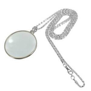 5X Lupenglas Linse Silber Langkettige runde Lesung Lupe Anhänger Halskette