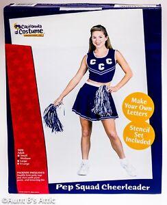 Cheerleader-Costume-Ladies-4Pc-Blue-amp-Wht-Skirt-Top-2-PomPoms-Lettering-Kit-Md