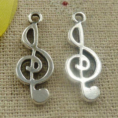 Free Ship 340 pieces tibetan silver musical note charms 26x10mm L-4797