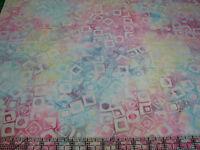 3 Yards Cotton Fabric - Timeless Treasures Tonga Batik Blocks Multi-color Pastel