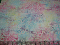 3 Yards Cotton Fabric - Timeless Treasures Tonga Batik Blocks Multi-color Pastel