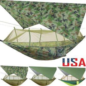 NEW Outdoor Camping Hammock Mosquito Net + Tarp Set Waterproof Hanging Bed Swing