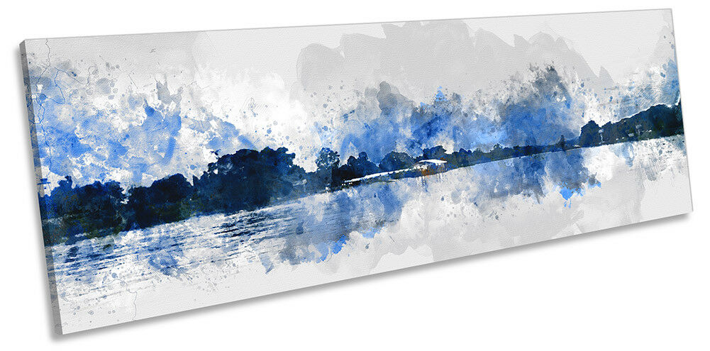 Blau Landscape Minimalist PANORAMA CANVAS WALL ARTWORK Print Art