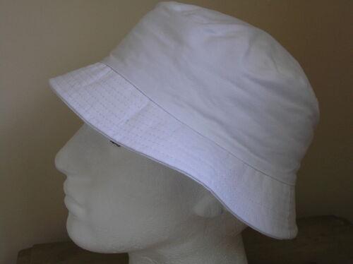 MENS LADIES GENTS SUN HAT 100/% COTTON WHITE SIZE 58CM M//L