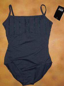 NWT-Dance-Bloch-Dark-Blue-Button-Frill-Cami-Leotard-Ladies-Sm-Adult-L6007
