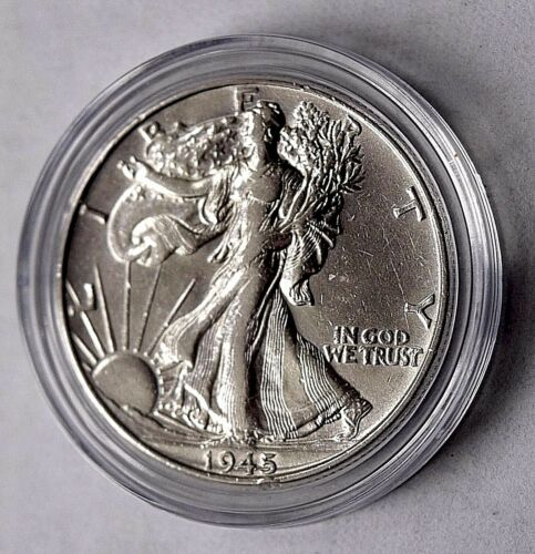 1945 AU LIBERTY WALKING HALF DOLLAR COIN 90/% SILVER HOLIDAY GIFT IDEA K