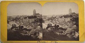 Suisse Panorama Da Bern Fotografia Stereo Vintage Albumina