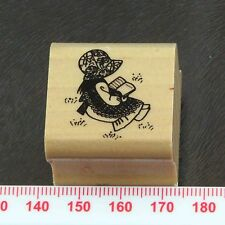 Cute Cartoon Victorian Girl Reading in the Meadow Field Grass Rubber Stamp