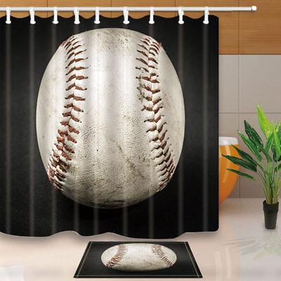 "Baseball On Rustic Wooden Board Bathroom Fabric Shower Curtain /& 12 Hooks 71*71/"""