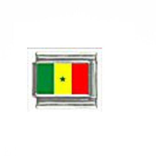 Bandera de Senegal encanto italiano-se adapta a 9mm clásico italiano pulseras