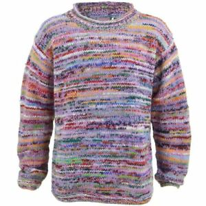 e202ac1139b0b Wool Jumper PINK Chunky Knit Knitted Sweater Pullover Rolled Crew ...