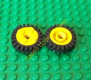 1x-Lego-6248c01-Wheel-Freestyle-Black-Tire-Offset-Tread-6248-3483-Yellow