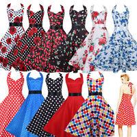 Elegant Swing Retro Vintage Polka Dot Vintage Halter 1950's Rockabilly Dress UK