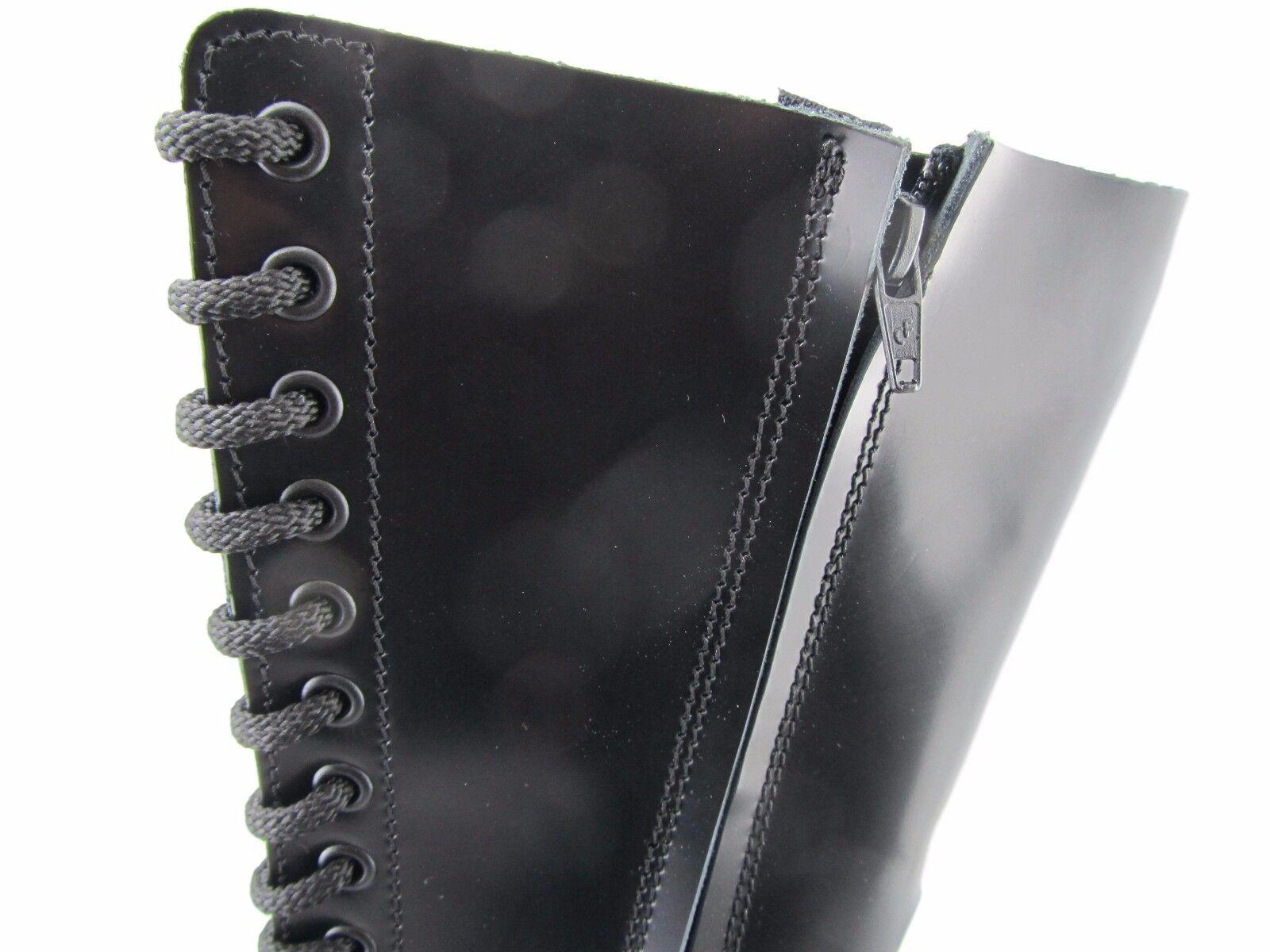 Steel Eye Ground 20 Eye Steel Black Leather Combat Boots Box Under Cap Safety Boot Punk c0afc1