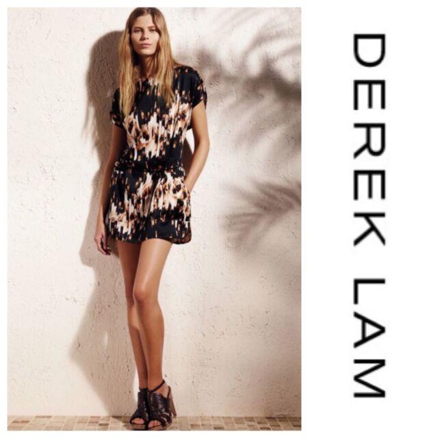 Derek Lam Design Nation Brown Drawstring Shirred shoulder Dress pocket Size Med