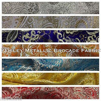 "New Paisley Metallic Brocade Fabric 58"" wide for Jackets & waistcoats M350 Mtex"