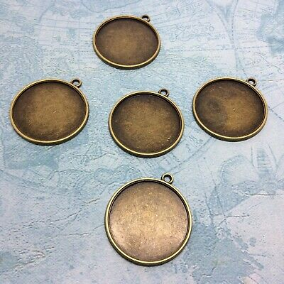 GLASS C33 25mm TRAY ROUND SILVER BRONZE COPPER GOLD CABOCHON PENDANT SETTINGS