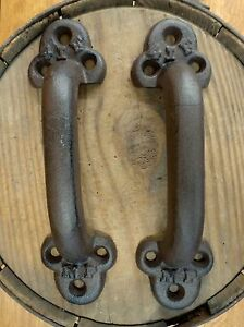 2 BROWN ANTIQUE-STYLE CAST IRON LARGE RUSTIC RAILROAD BOXCAR DOOR HANDLES PULLS