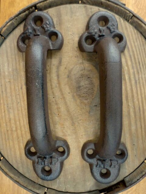 2 BROWN ANTIQUE-STYLE CAST IRON LARGE RUSTIC RAILROAD BOXCAR DOOR HANDLES  PULLS - 2 Brown Antique-style Cast Iron Large Rustic Railroad Boxcar Door