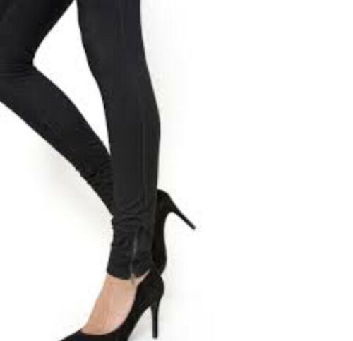 Leggings  Size L 12 14 New Woman/'s Ankle Zip NUMPH  Black Cameo Trousers