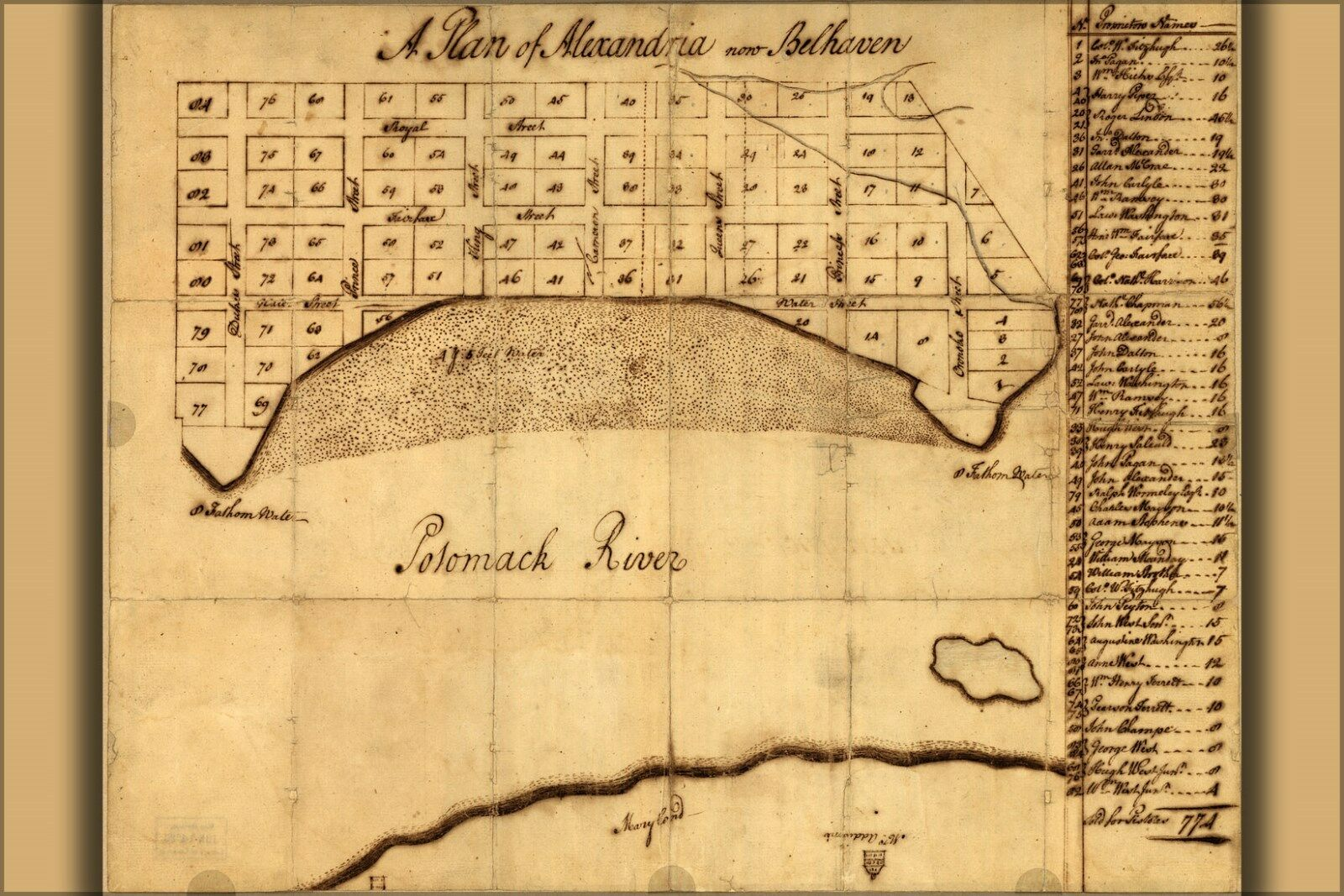 Poster, Many Größes; Map Of Alexandria Virginia 1749