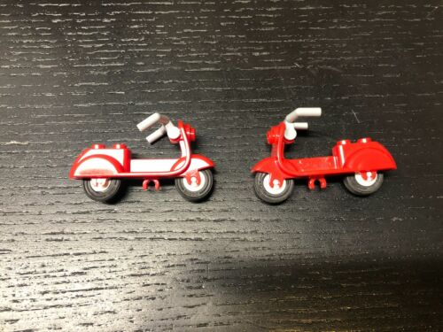 moped LEGO Red Scooter Lot of 2 minifig accessories bicycle