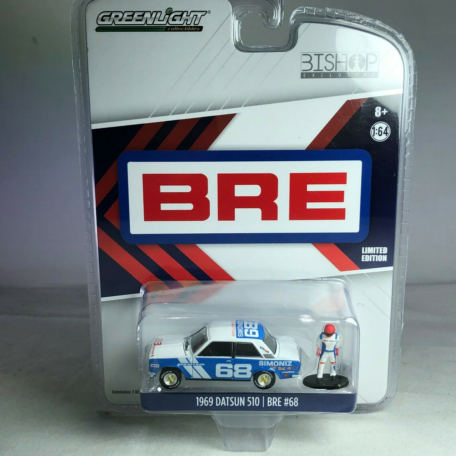 1/64 Greenlight Datsun 510 Wide Body with figure BRE Gulf Special 8 pcs / Set