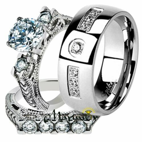 Hers /& His Stainless Steel Round Cut Vintage Bridal Ring Set /& Cz Wedding Band
