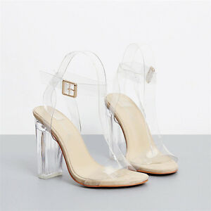 e07728766623 Details about Fashion Women Transparent Sandals Clear High Heels Ankle  Strappy Open Toe Shoes
