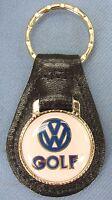 Vintage White Vw Golf Volkswagon Black Leather Usa Goldtone Keyring Key